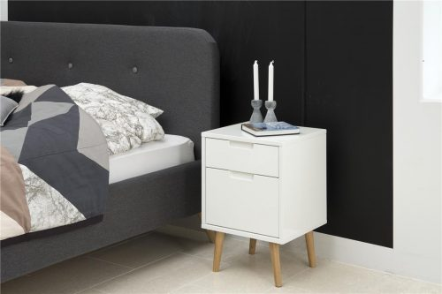 Elise Bedside Table White Gloss 2 Drawer 4