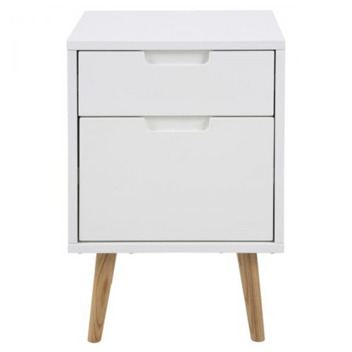Elise Bedside Table White Gloss 2 Drawer