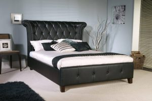 Epsilon Bed Frame Faux Leather With Tall Headboard Black 2