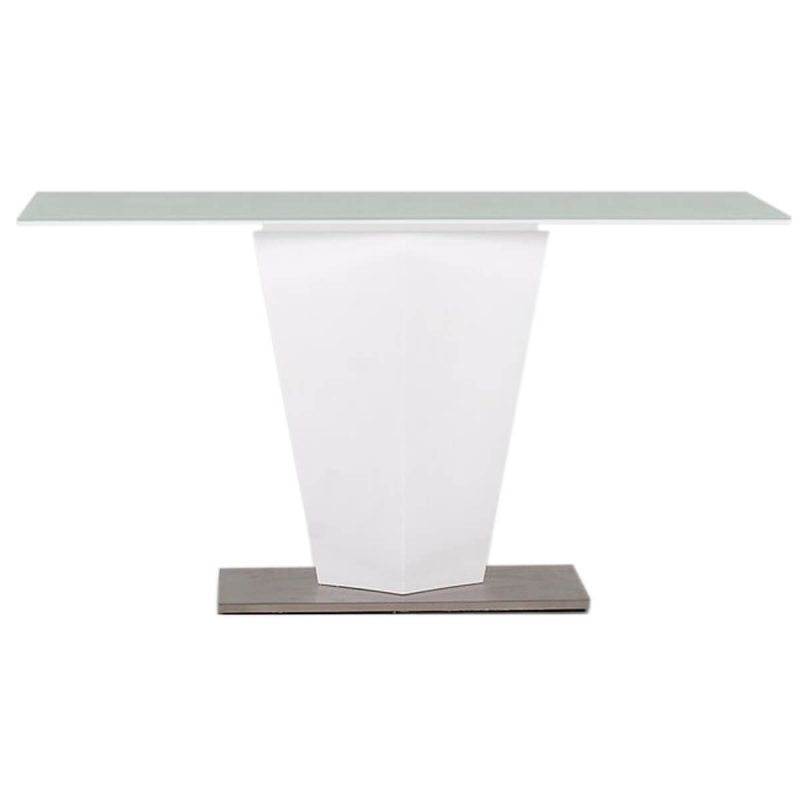 Essence Console Table White High Gloss & Glass 1
