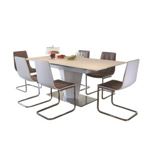 Essence White Gloss & Glass Dining Set 1