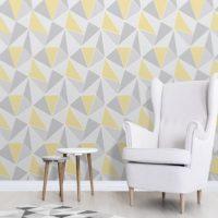 Abstract Yellow & Grey Wallpaper Roomsett