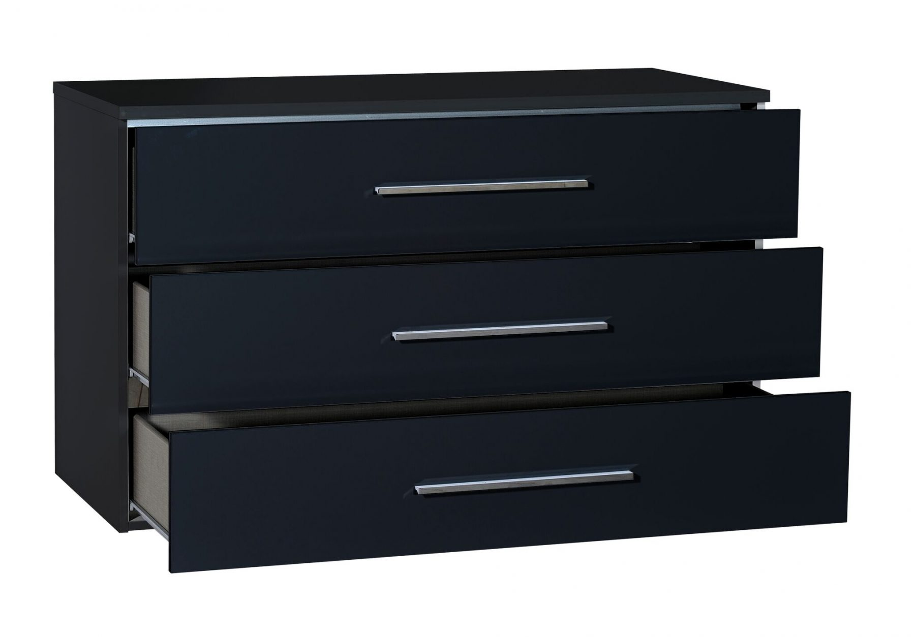 First 3 Drawer Black Gloss Chest Of Drawers Free