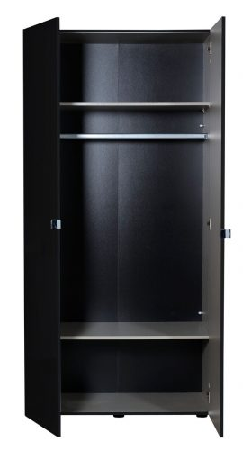 First 2 Door Wardrobe 101cm Black High Gloss 5