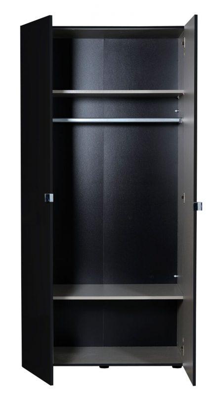 First 2 Door Wardrobe 101cm Black High Gloss 5