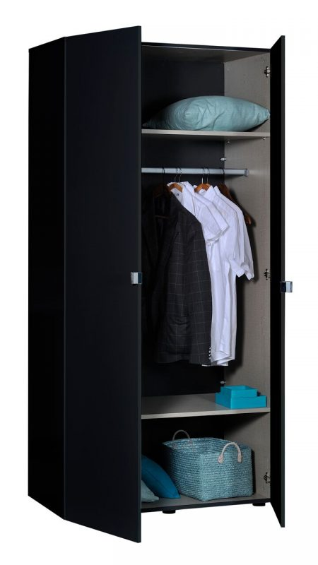 First 2 Door Wardrobe 101cm Black High Gloss 6