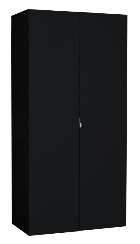 First 2 Door Wardrobe 101cm Black High Gloss 2
