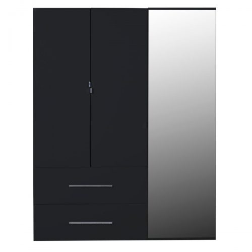 First 3 Door Wardrobe with Mirror & Drawers 162cm Black High Gloss