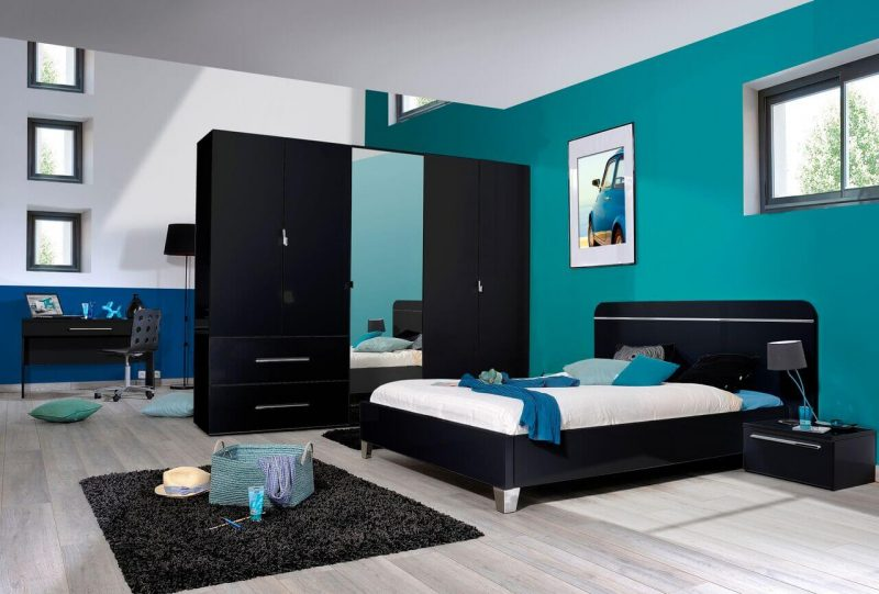 First 3 Door Wardrobe with Mirror & Drawers 162cm Black High Gloss 2