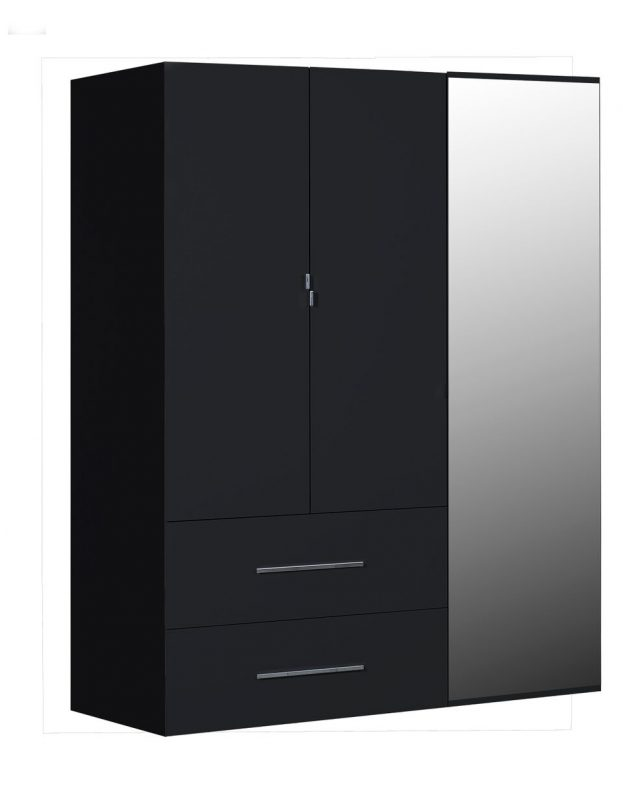 First 3 Door Wardrobe with Mirror & Drawers 162cm Black High Gloss 4