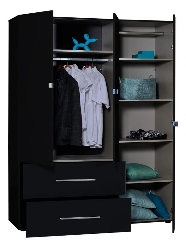First 3 Door Wardrobe with Mirror & Drawers 162cm Black High Gloss 5