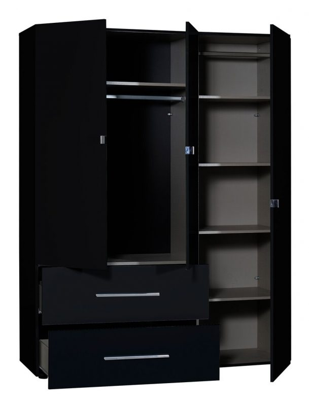 First 3 Door Wardrobe with Mirror & Drawers 162cm Black High Gloss 6