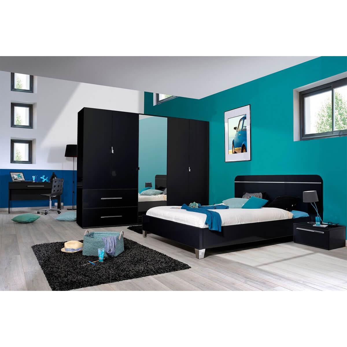 First EU Bed Frame Black High Gloss 4