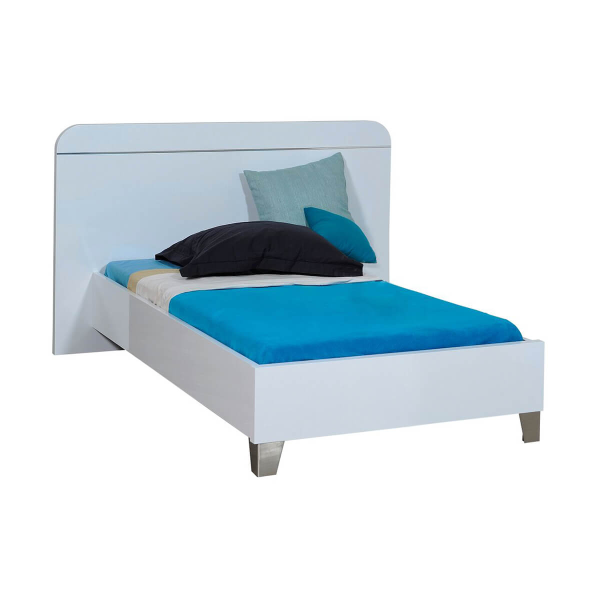 First EU Bed Frame White High Gloss