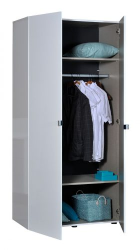 First 2 Door Wardrobe 101cm White High Gloss 6