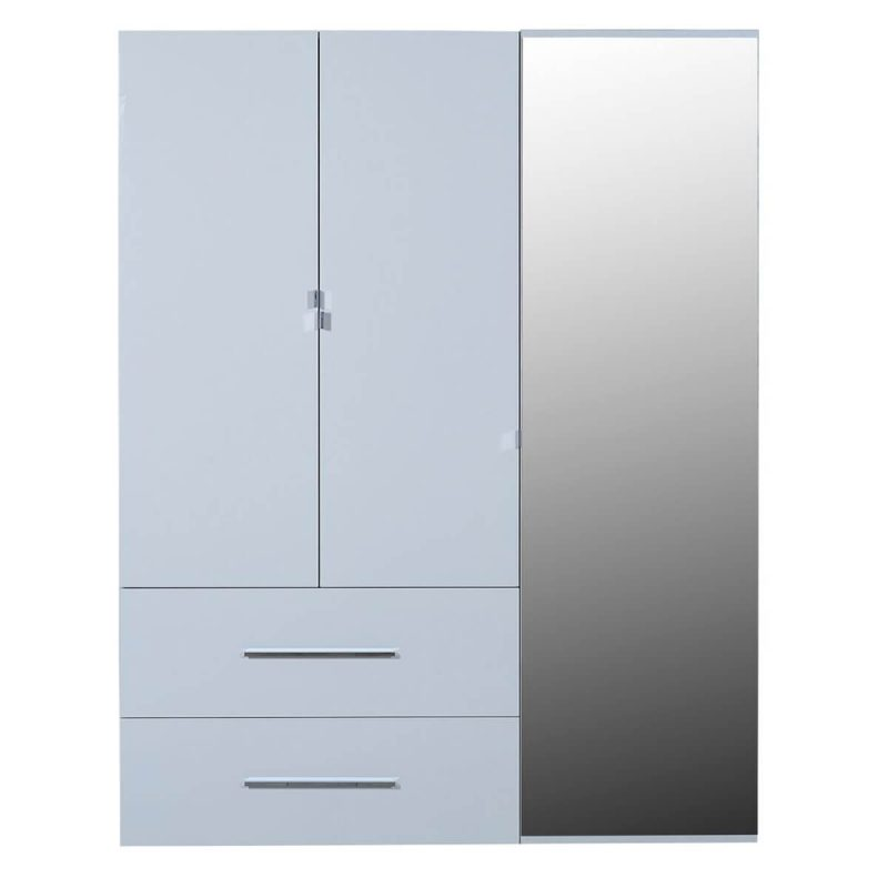First 3 Door Wardrobe with Mirror & Drawers 162cm White High Gloss