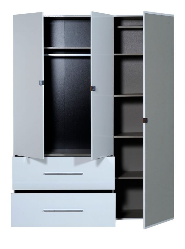 First 3 Door Wardrobe with Mirror & Drawers 162cm White High Gloss 3