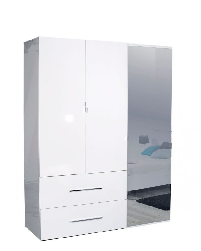 First 3 Door Wardrobe with Mirror & Drawers 162cm White High Gloss 4
