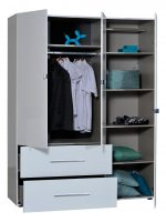 First 3 Door Wardrobe with Mirror & Drawers 162cm White High Gloss 5
