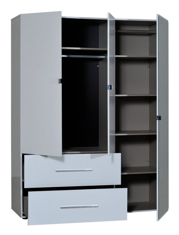 First 3 Door Wardrobe with Mirror & Drawers 162cm White High Gloss 6