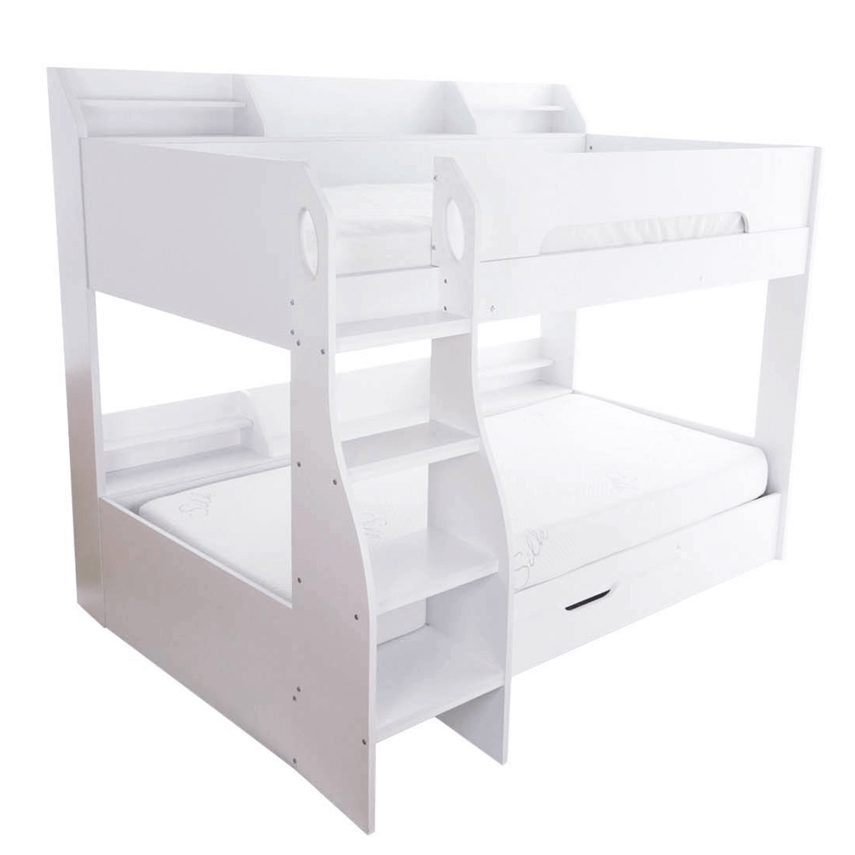 Flick Bunk Bed with Storage Drawer & Shelving White