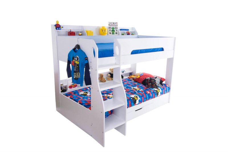 Flick Bunk Bed with Storage Drawer & Shelving White 5