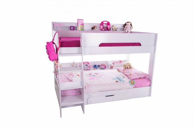 Flick Bunk Bed with Storage Drawer & Shelving White 2