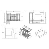 Flick Bunk Bed with Storage Drawer & Shelving White 3