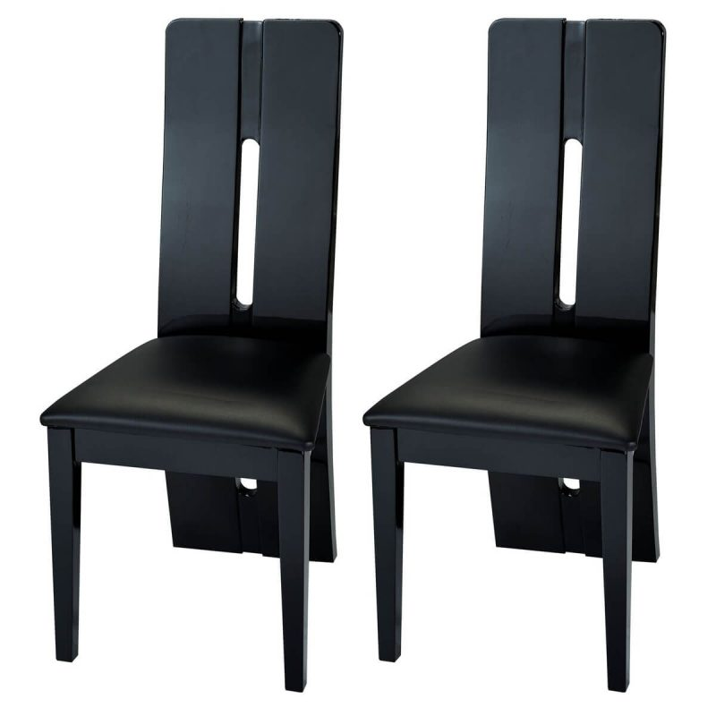 Floyd Dining Chair Black High Gloss & Faux Leather