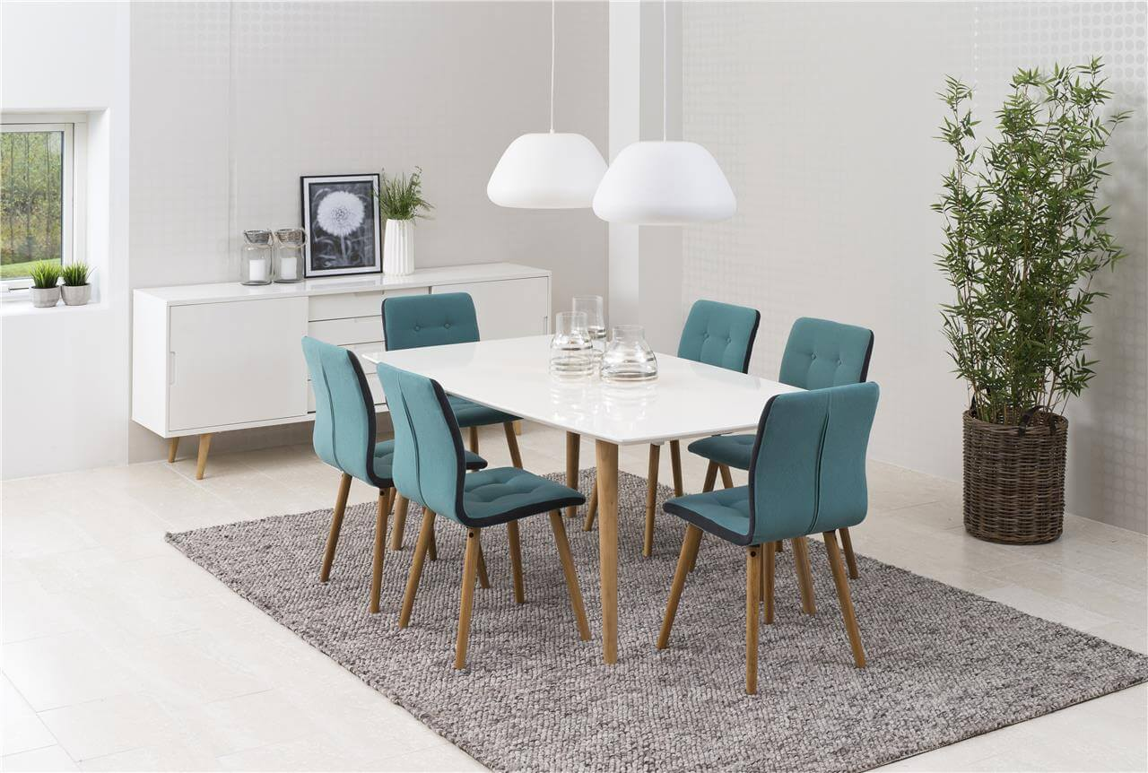 Frida Fabric Teal Dining Chairs 2