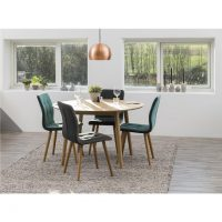 Frida Dark Grey Fabric & Oak Dining Chairs 4