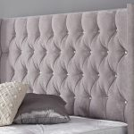 Gabriella Bed Frame Diamante Headboard Velvet Grey 3