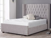 Gabriella Bed Frame Diamante Headboard Velvet Grey 2