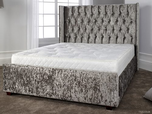 Gabriella Bed Frame Grey Crushed Velvet 1