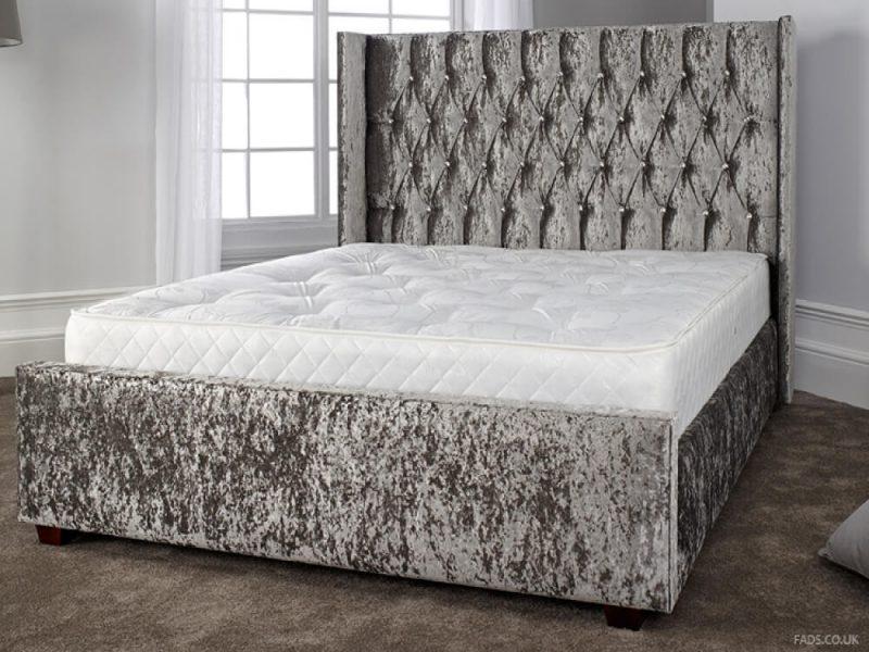 Gabriella Bed Frame Grey Crushed Velvet 1