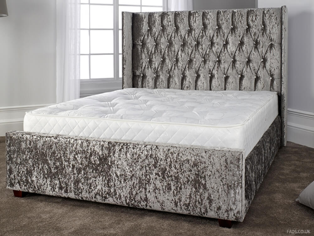gabriella silver crushed velvet bed frame free delivery. Black Bedroom Furniture Sets. Home Design Ideas