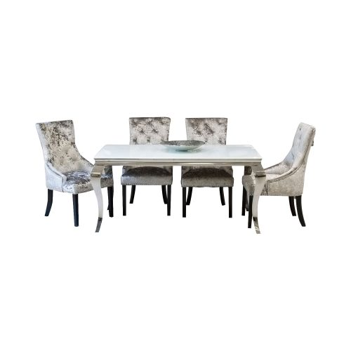 Grande Cream Marble Dining Table Set