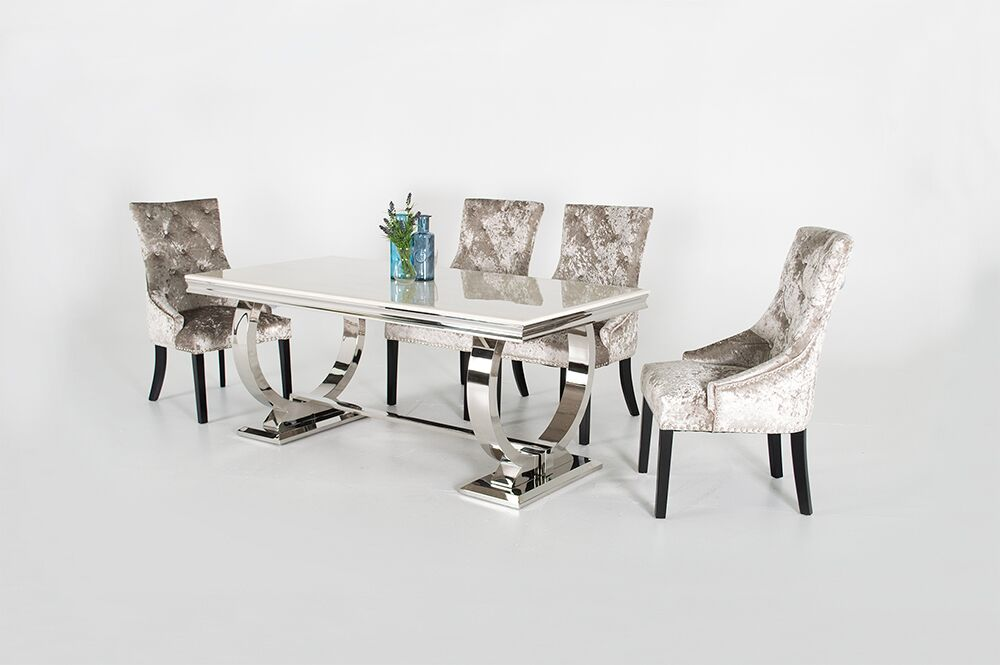 Grande Cream Marble Dining Table Set Modern Marble Fads