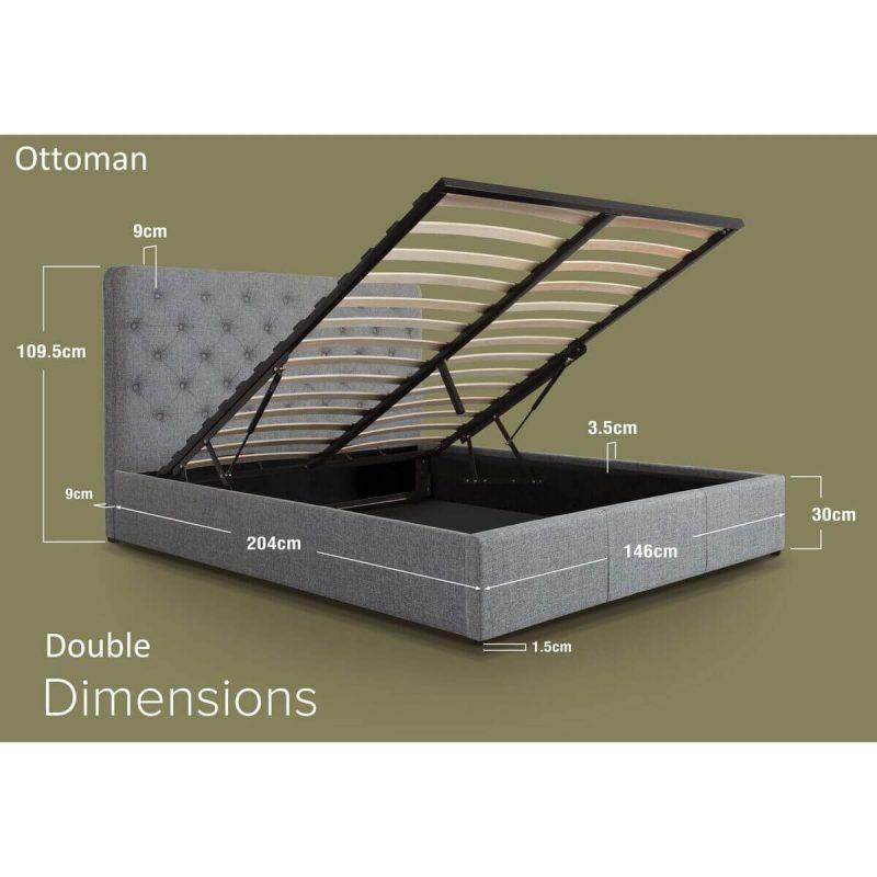 Nova Grey Linen Ottoman Bed Dimensions Double