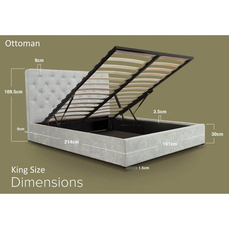 Nova Light Grey Crushed Velvet Ottoman Bed Dimensions King