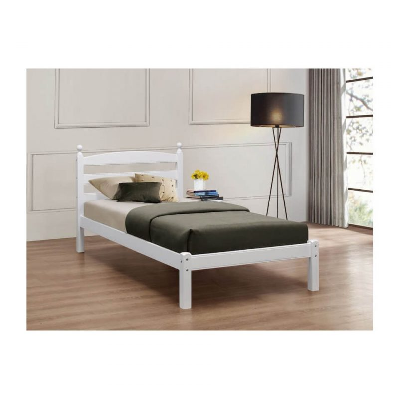 Halden Wooden Bed Frame White Gloss 5