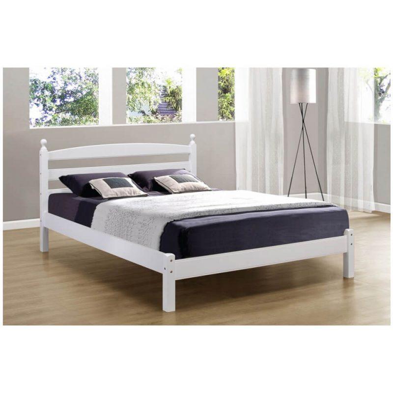 Halden Wooden Bed Frame White Gloss 6