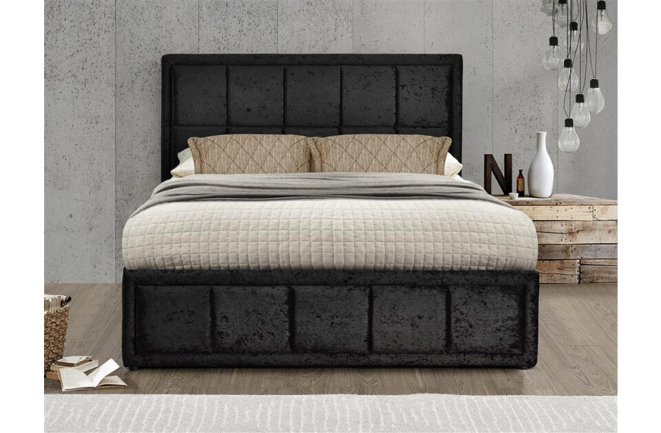 Hampshire Ottoman Bed Frame Crushed Velvet (Various Colours Available) (Bed Colour: Black, Bed Size: Double)