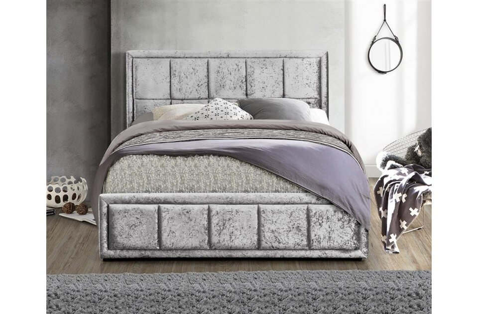 Hampshire Ottoman Bed Frame Crushed Velvet (Various Colours Available) (Bed Colour: Steel Crushed Velvet, Bed Size: Small Double)
