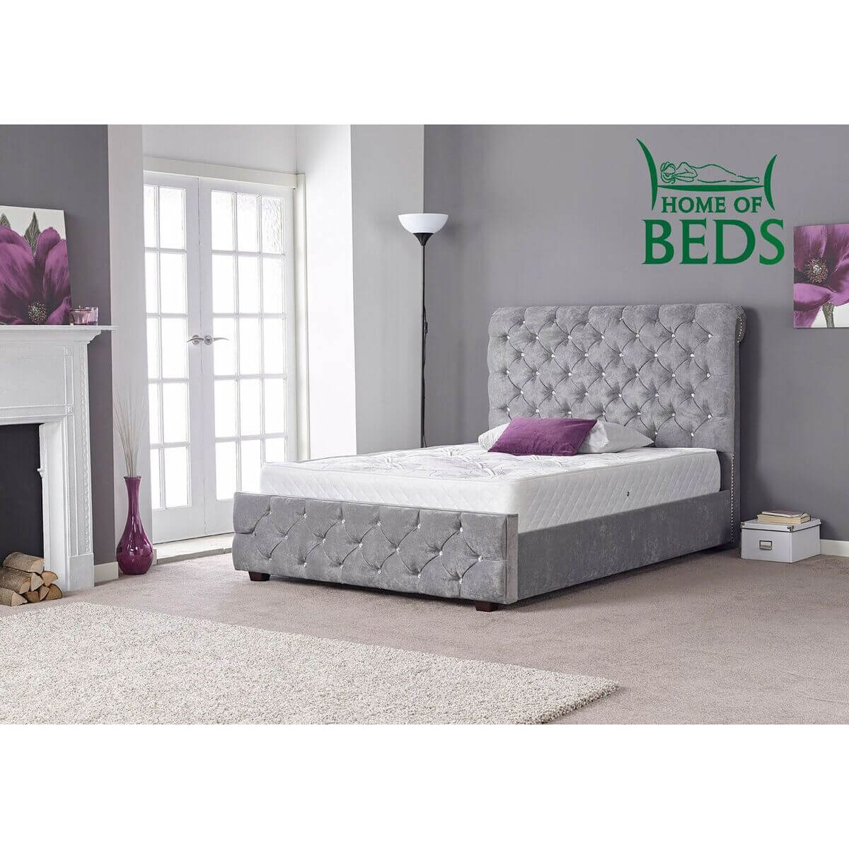 Hannah Silver Crushed Velvet Bed Fabric Beds Fads