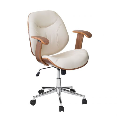 Henley Cream Faux Leather Desk Chair with Arms