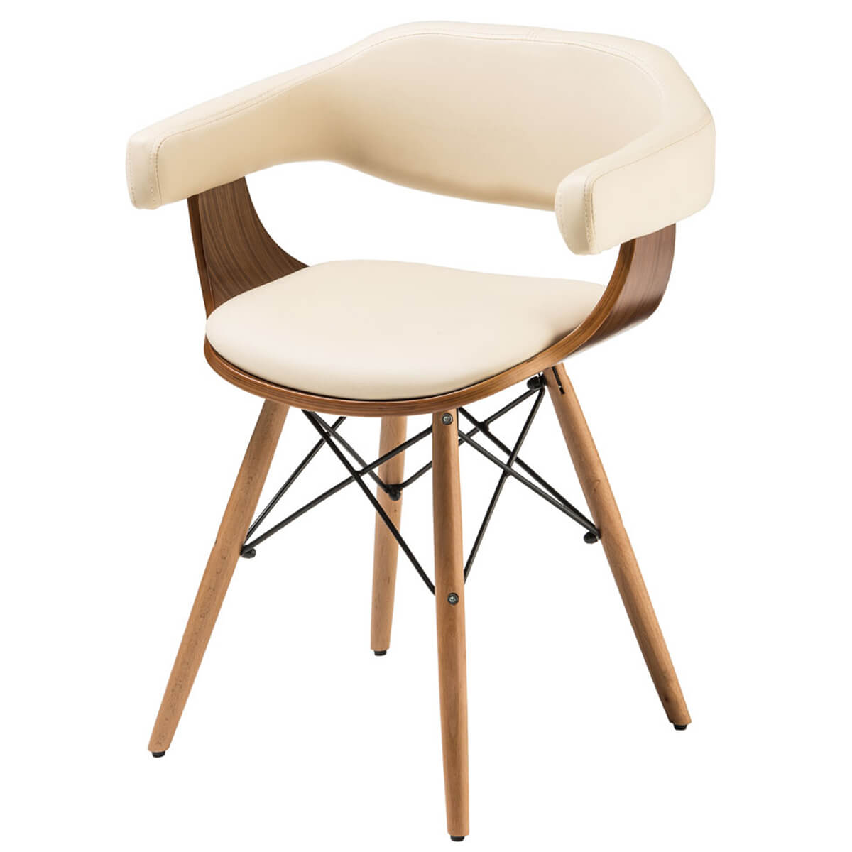 Huntley Dining Chair Cream Faux Leather & Beech