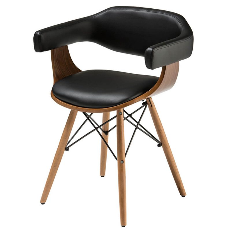 Huntley Dining Chair Black Faux Leather & Beech