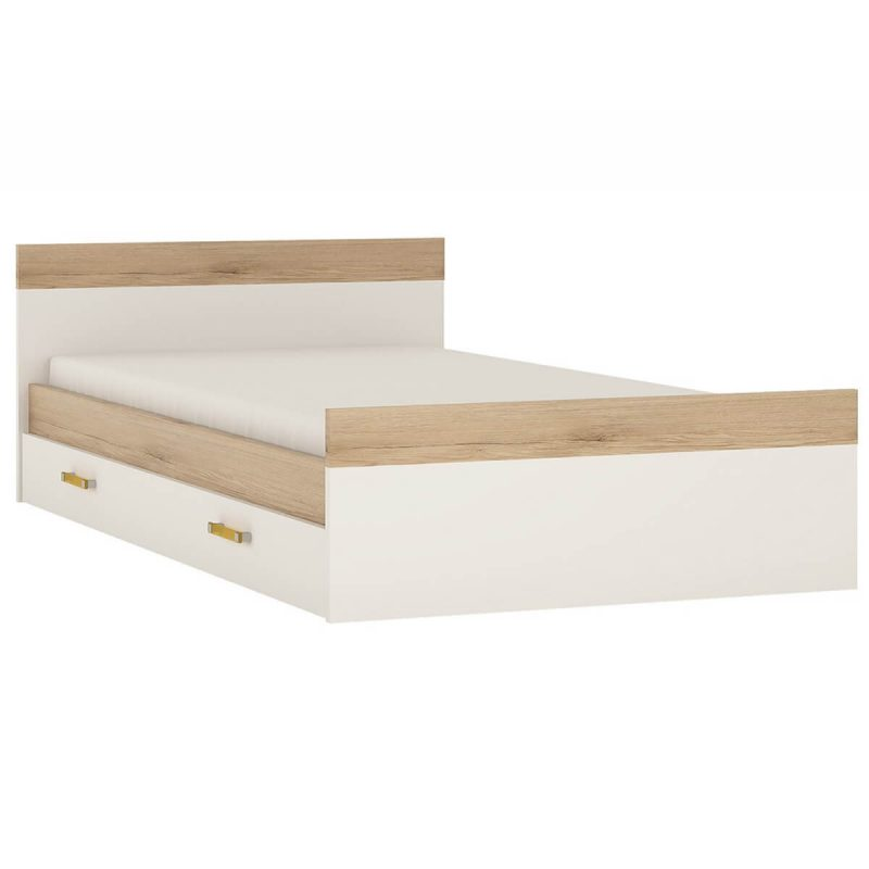 iKids Single Bed with Under Bed Drawer Orange Handles