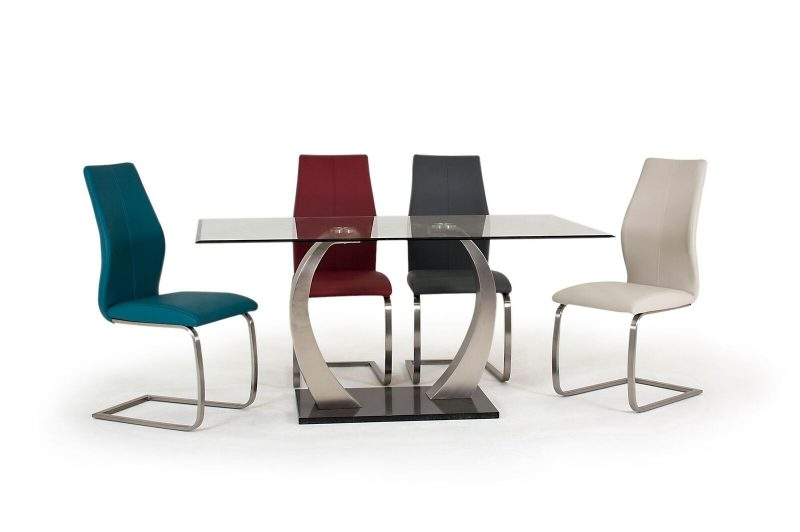 Irma Teal Faux Leather Dining Chairs 4